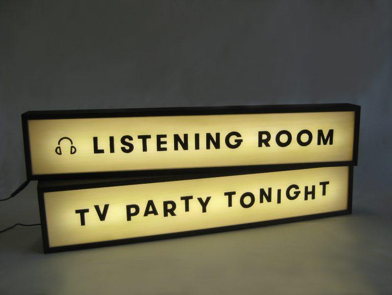 Custom Lightbox Handpainted Sign Delivered to Pitchfork Media, World Trade Center