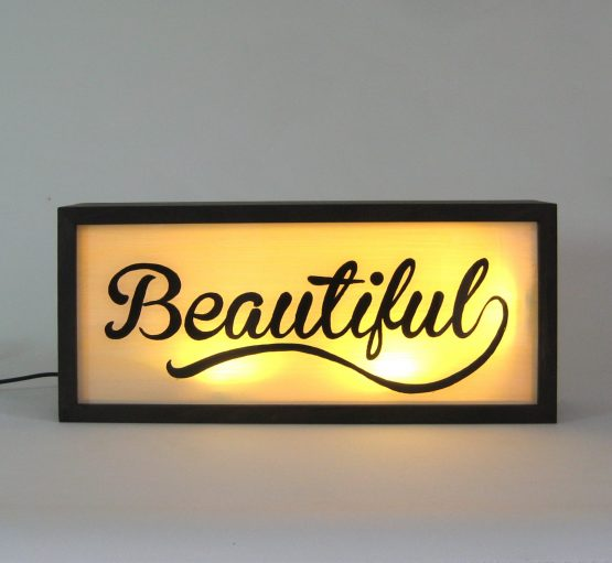 "Hand Painted Signs ""Beautiful"" Vintage Wooden Lightbox"