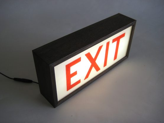 """Hand-Painted Lighted Vintage """"EXIT"""" Sign Wooden Lightbox Signs"""
