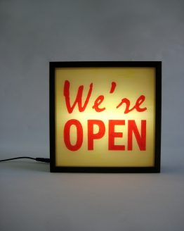 we are open handpainted lightbox sign