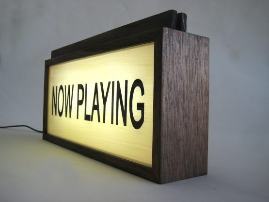 """Vinyl Record Holder """"Now Playing"""" Vintage Wooden Lightbox"""