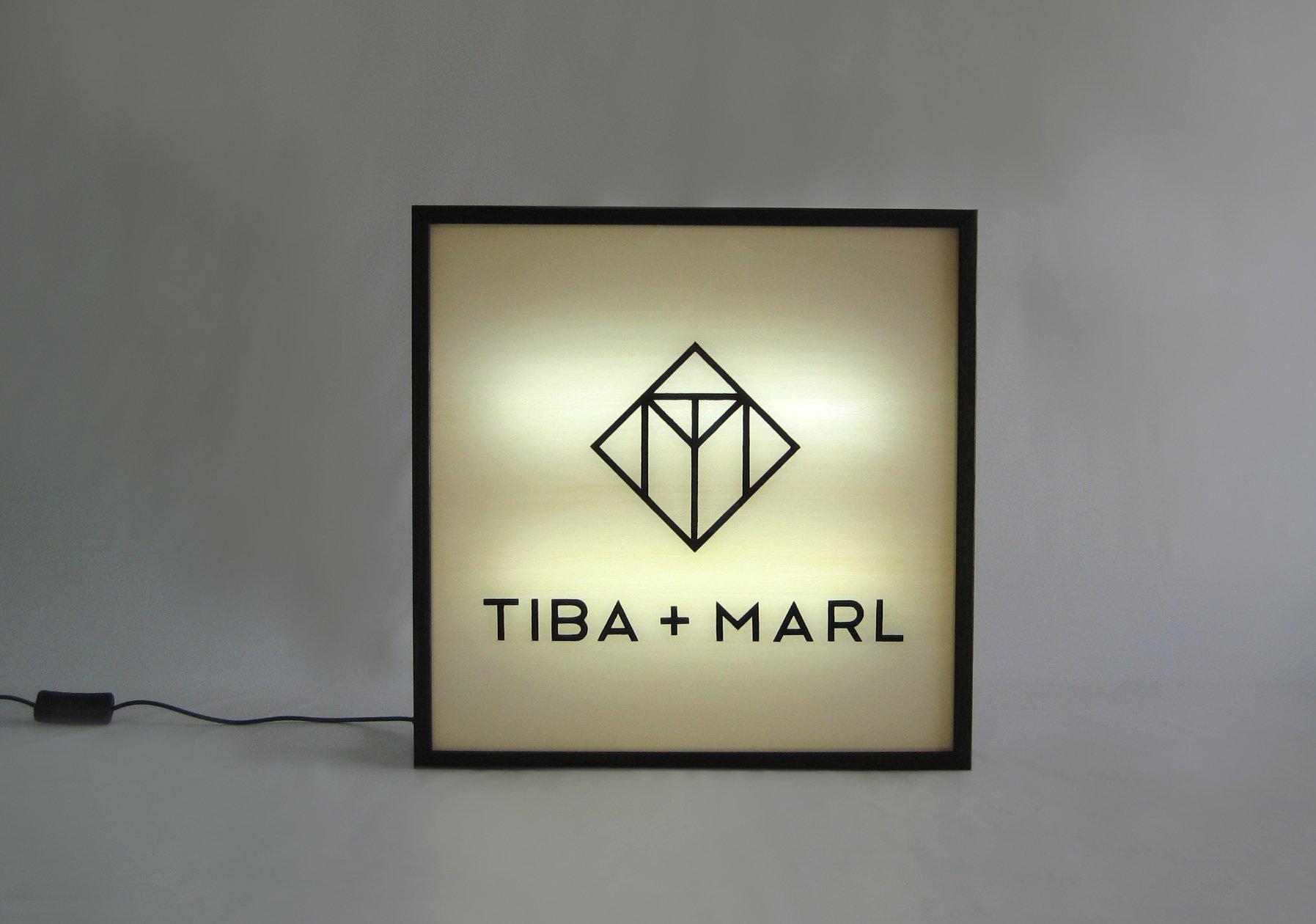 Custom Made Hand Painted TIBA AND MARL logo lightbox sign
