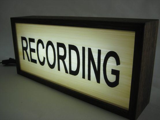 Hand Painted RECORDING Sign Vintage Wooden Light box