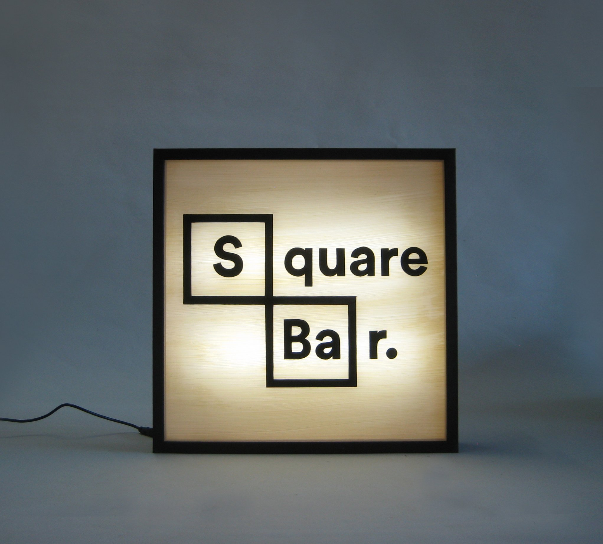 Custom Lightbox Hand Painted Signs Square Bar Logo Delivered to Atlanta