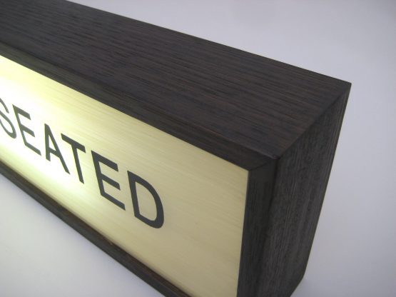 please wait to be seated hand painted sign lightbox