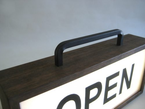 open hand painted signs with handle lightbox