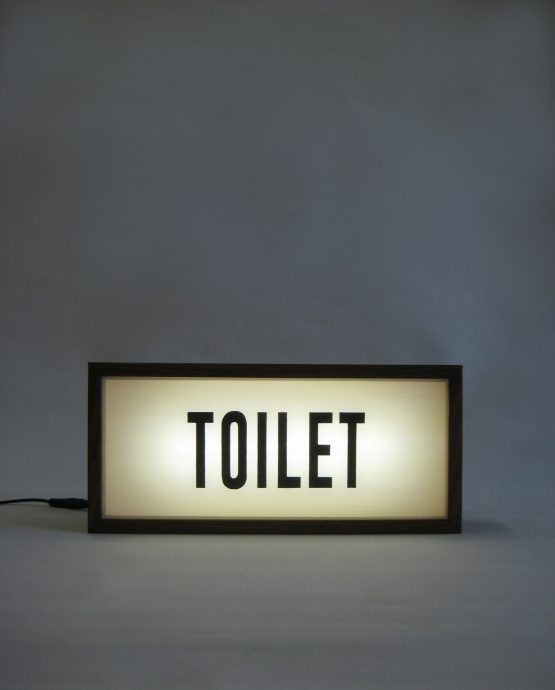 toilet vintage handcrafted wooden lightbox sign