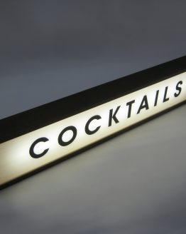 cocktails handcrafted wooden light box sign