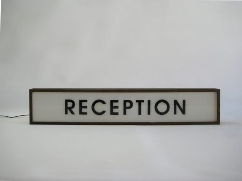 reception sign handcrafted wooden light box sign