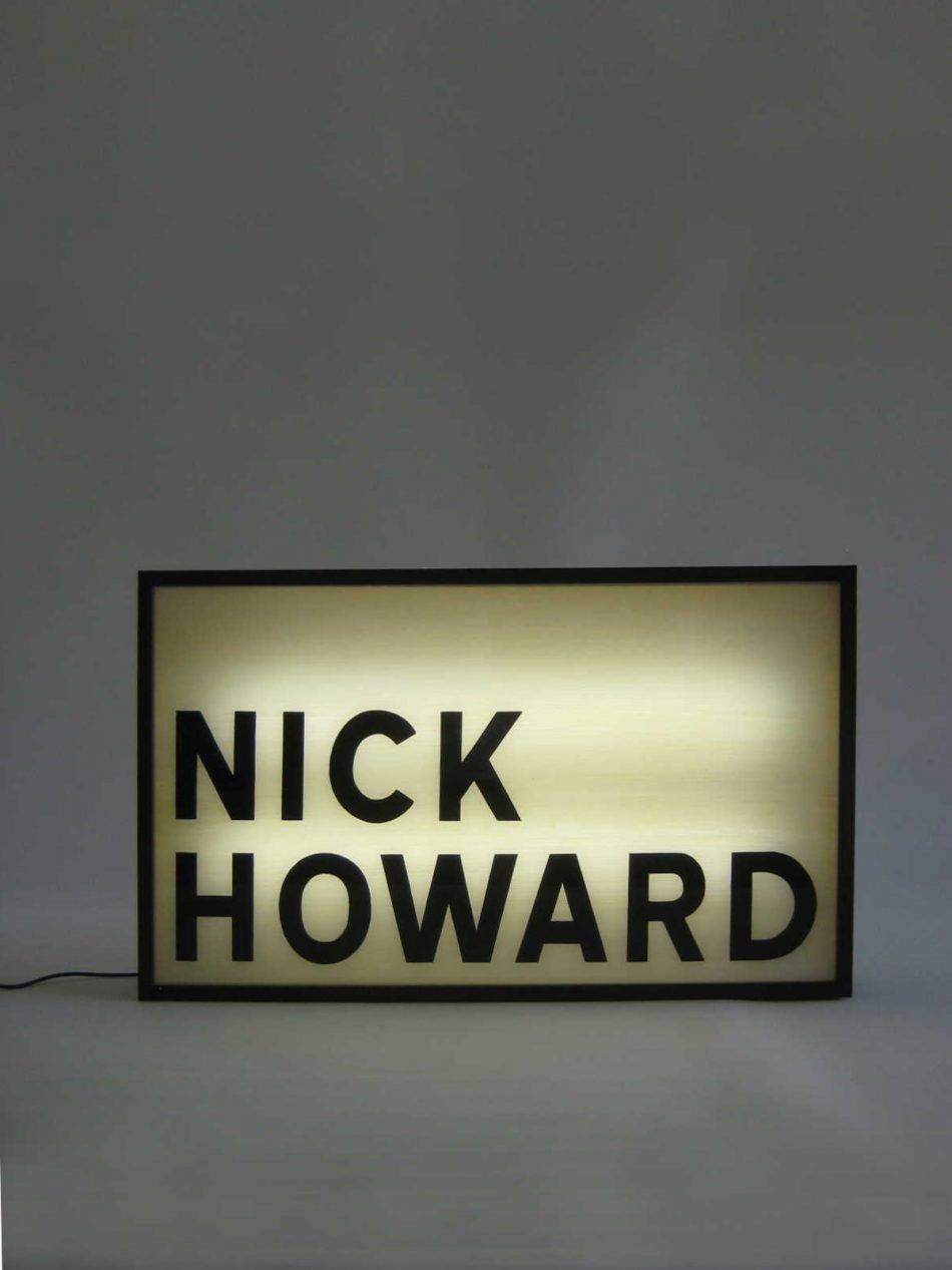 bespoke lightbox sign for singer songwriter NIck Howard